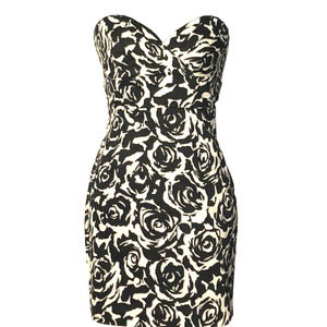 Strapless Black and White Rose Print Dress